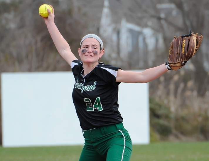 Amanda King picked up another win on the mound when the Indians' softball squad beat East Haven 3-2 in the SCC Tournament quarterfinals on a walk-off single from Jordyn Goldstein. Photo by Kelley Fryer/The Courier