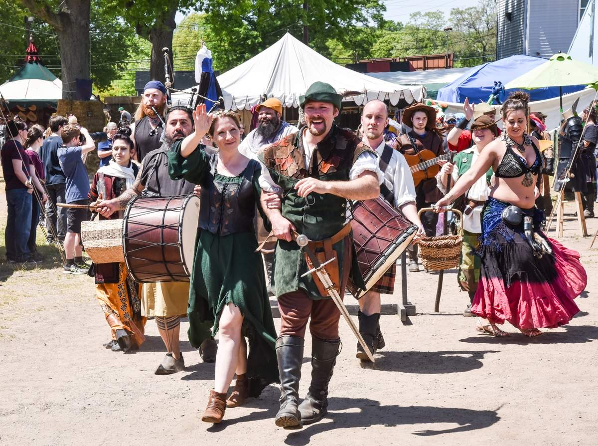 The Connecticut Renaissance Faire was in full swing with medieval jousting, music,  and family fun. Robinhood leads the Parade of Doom.