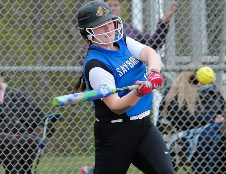 Sophomore Maeve Foley's two-run homer helped Old Saybrook softball beat Plainville 13-1 to secure a postseason berth for the Rams. Photo by Kelley Fryer/Harbor News