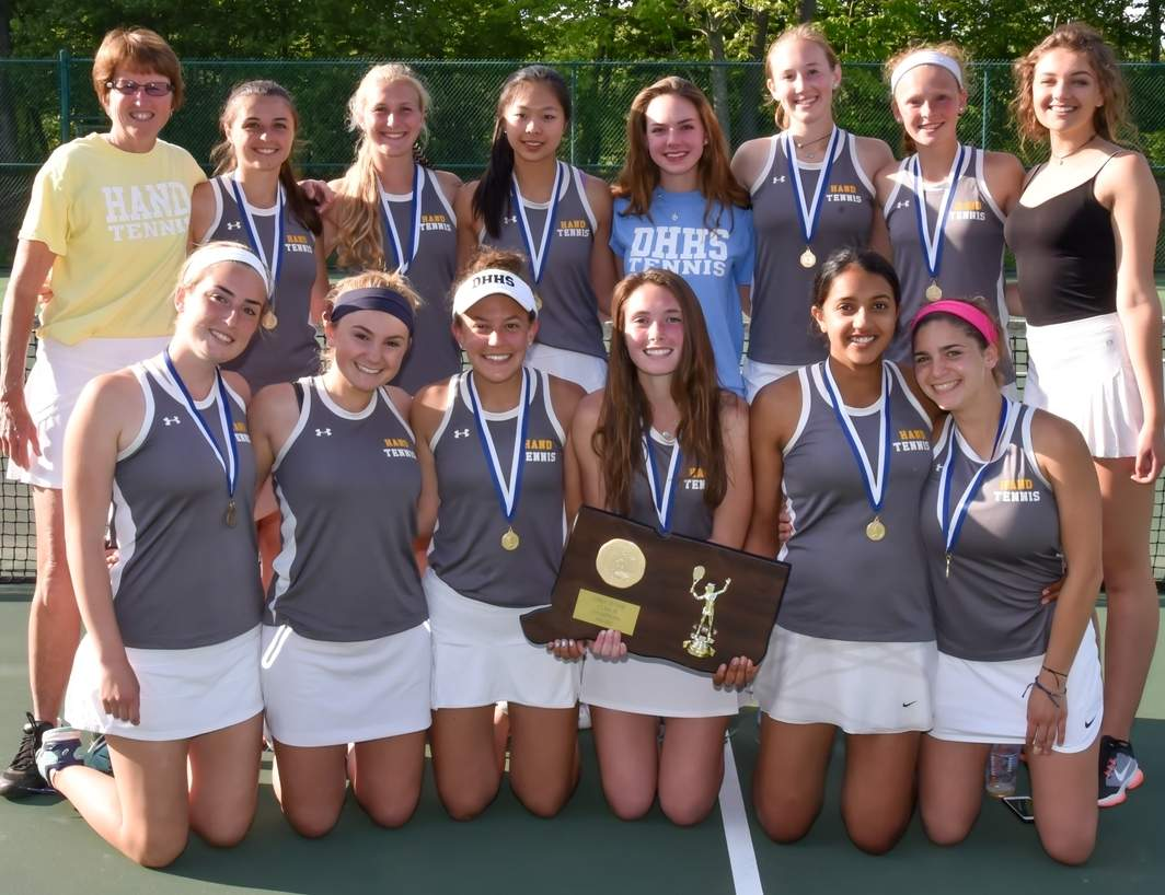 After losing in last year's Class M State Tournament final, the Hand girls' tennis squad captured the championship in 2017 by posting a 5-2 victory versus Guilford in the title bout at Westbrook High School on June 1. Photo by Kelley Fryer/The Source