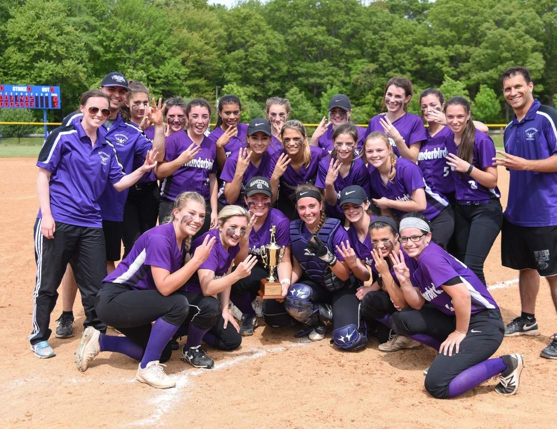 The North Branford softball won its third consecutive Shoreline Conference Tournament championship by defeating Hale-Ray 10-5 at Old Lyme High School on May 28. North Branford went on to win its first four games of the Class M State Tournament to earn a spot in the championship game. Photo by Kelley Fryer/The Sound