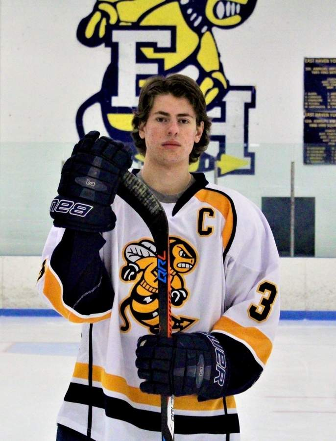 Matt Latella broke the East Haven boys' ice hockey team's record for plus-minus rating while averaging 35 minutes of ice time during his senior season.  Photo courtesy of Matt Latella