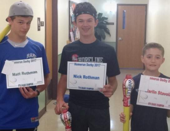 8th-grade champion Matt Rothman, 7th-grade champion Nick Rothman, and 6th-grade champion Marlin Stavola were the champions of their respective divisions at the Old Saybrook Parks and Recreation Department's annual Home Run Derby on May 5. Photo courtesy of Taryn Erb