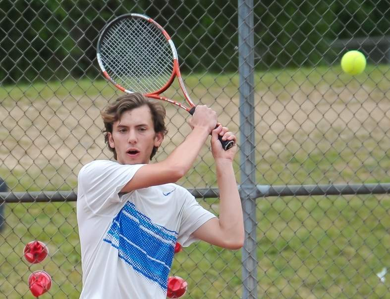 Old Saybrook senior Saba Cecunjanin made it to both the Shoreline Conference Tournament 1-2 singles final and the Class S State Championship final on his way to earning All-Conference First Team and All-State honors. Photo by Kelley Fryer/Harbor News