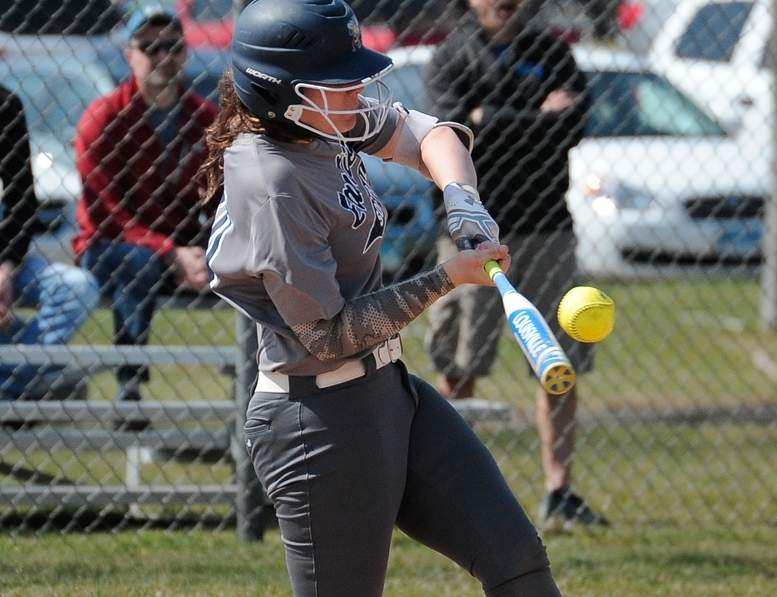 Julia SanGiovanni and the Yellowjackets' offense pounded out 12 hits when they faced Lauralton Hall in the Class L State Tournament, but the visiting Crusaders came away with a 14-11 victory in a first round contest on May 30. Photo by Kelley Fryer/The Courier