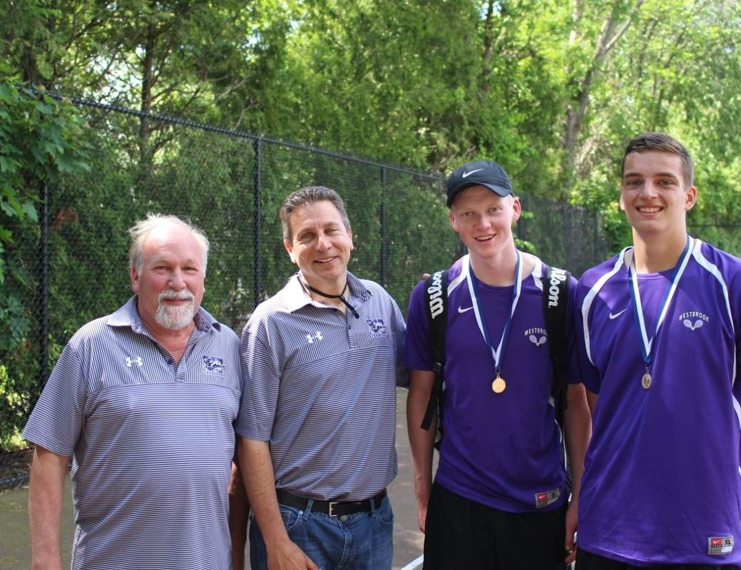 Westbrook seniors Gus Marx and David Amendola recently won the doubles tournament at the Class S State Championship. Pictured are Knights' assistant coach Bill Bernard and Head Coach Dan Shapiro, alongside Marx and Amendola with their gold medals. Photo courtesy of Dan Shapiro