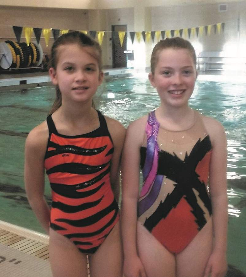 North Haven residents Giada Garofalo, graduate of the Heronettes' Intro to Synchro class, and Juliet Koff, member of the Heronettes Training Team, will be performing Friday, June 9 and Saturday, June 10 in their first Watershow at Hamden High School pool. Photo courtesy of the Hamden Heronettes