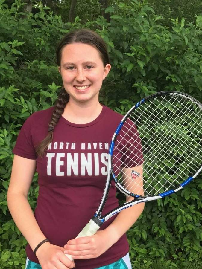 Senior Hillary Hoyt held down the No. 3 singles spot for the Indians' girls' tennis team by posting an exceptional record of 22-1 this spring. Photo courtesy of Hillary Hoyt
