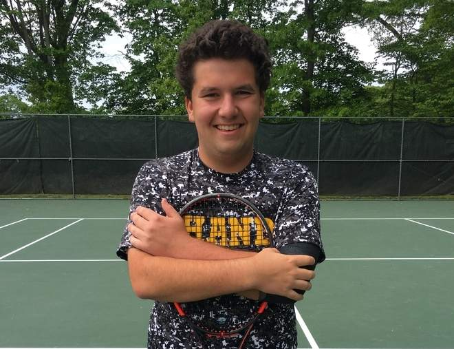 Junior Rob Israel has earned a record of 20-4 playing the No. 1 doubles position this spring for the Hand boys' tennis team, which went 17-0 for the regular season, returned to the SCC final, and then finished second at states. Photo courtesy of Rob Israel