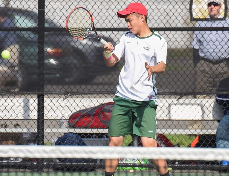 Senior captain singles player Jeff Eng earned All-SCC honors, while helping the Guilford boys' tennis team go from posting eight victories last year to winning 17 matches during the recent season. Photo by Kelley Fryer/The Courier