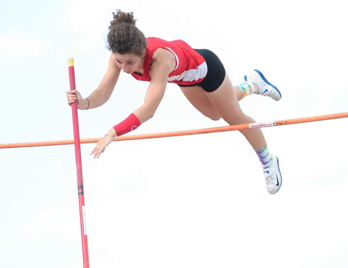 Bridget Wirtz cleared 10 feet-6 inches to take sixth place for the Branford girls' outdoor track squad at last week's State Open Championship. Five days later, Wirtz reached 11-3 for a fifth-place finish at the New England Championship. Photo by Kelley Fryer/The Sound