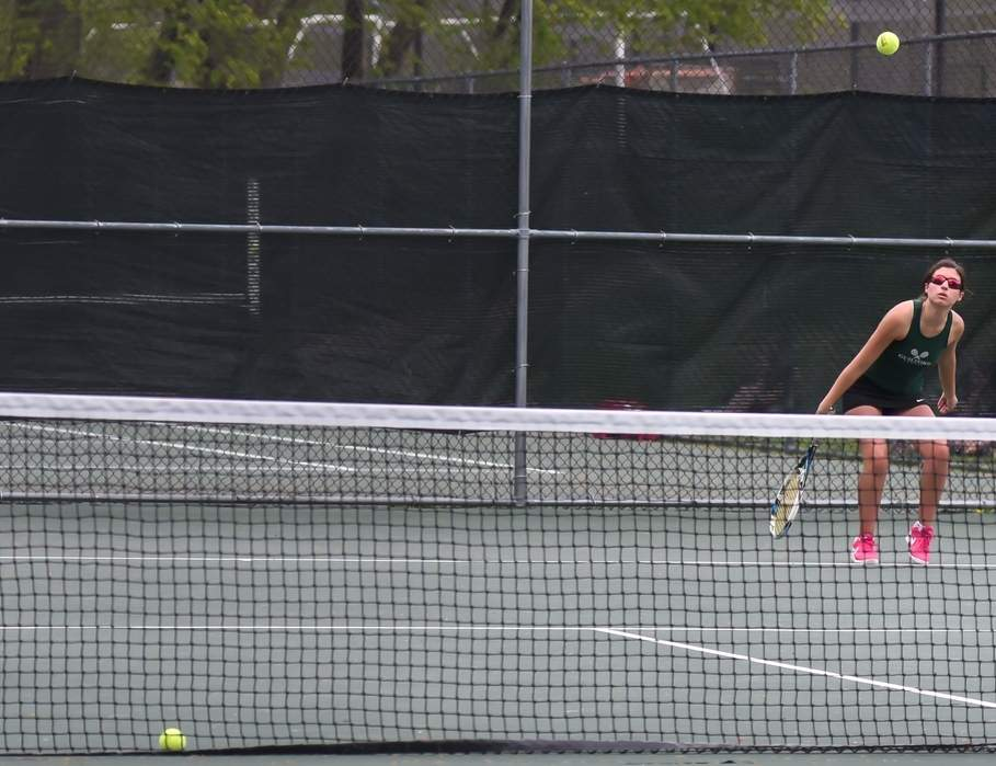 Sisters Molly and Charlotte Babbin were the No. 9 seed for the State Open Doubles Tournament and won three matches to reach the quarterfinals of the draw. Photo by Kelley Fryer/The Courier
