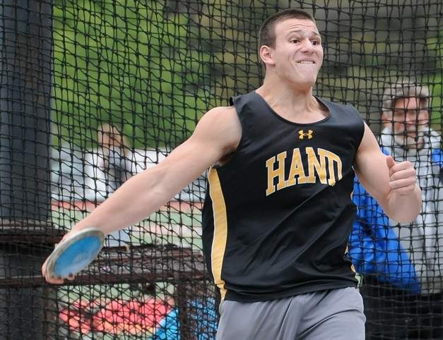 Junior Mike Burchell finished second in the shot put with a new personal-best throw of 52 feet-2.5 inches to help Hand boys' outdoor track capture its first State Open title on June 5 at Willow Brook Park in New Britain. Photo by Kelley Fryer/The Source