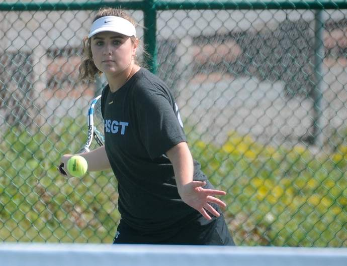 Westbrook senior Casey Burns finished her season with a 26-1 record after making it to quarterfinals of the singles bracket in the State Open Girls' Tournament last week. Photo by Kelley Fryer/Harbor News