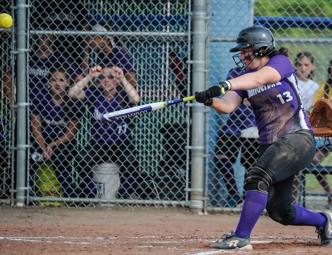 Senior captain Emily Muzyka pounded the ball over the center field fence in the first inning when the North Branford softball team faced Seymour in the Class M State Tournament final. The Thunderbirds dropped a 4-3 decision to the Wildcats at West Haven High School. Photo by Kelley Fryer/The Sound