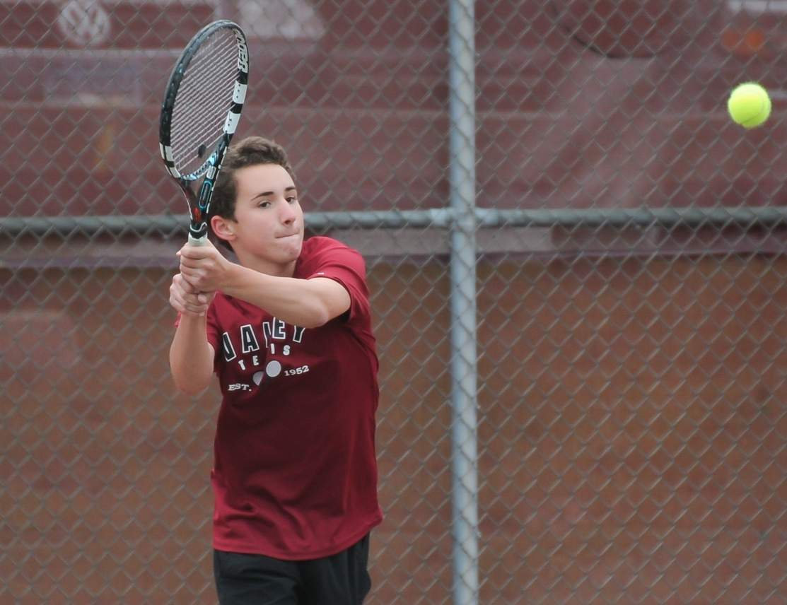 Junior No. 1 singles player Jeff Riggio had an overall record of 17-7 and made it to the third round of the Class S State Championship for the Valley Regional boys' tennis team this spring. Riggio will return to the Warriors next year as a senior captain. Photo by Kelley Fryer/The Courier