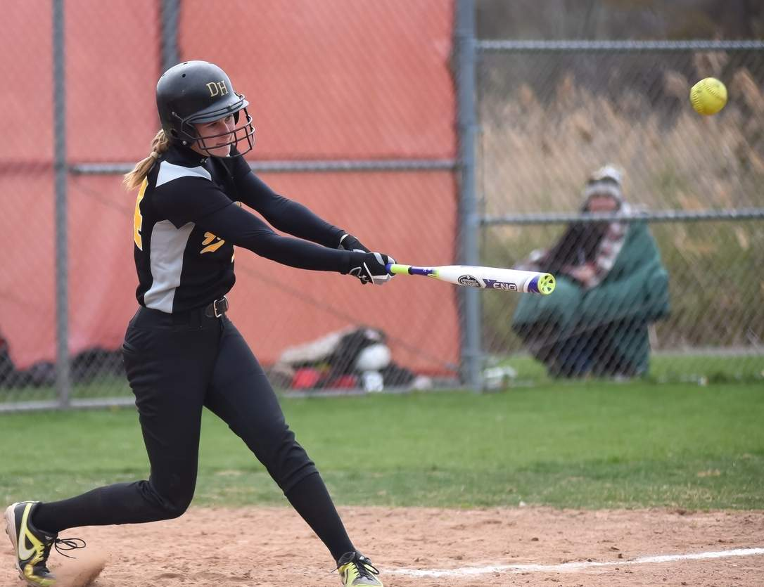 Senior first baseman tri-captain Kaitlyn Martin helped to lead the Hand softball squad to 17 overall victories, along with a berth in the Class L State Tournament quarterfinals this spring. Photo by Kelley Fryer/The Source