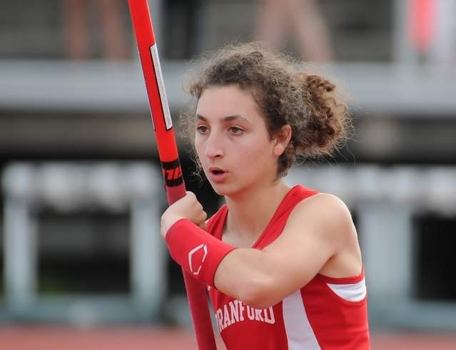 Bridget Wirtz added to her list of achievements with the Branford girls' track team by competing in the pole vault at the New Balance Outdoor Nationals last week. Photo by Kelley Fryer/The Sound