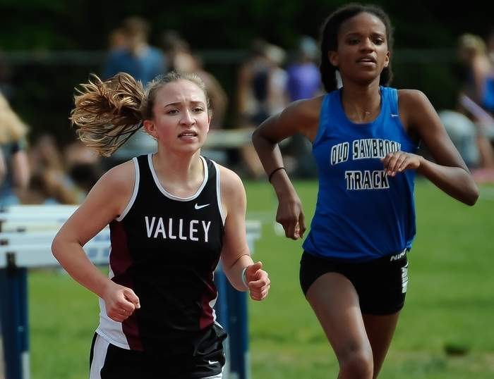 Valley junior Addie Byars competed in the CIAC 2,000-meter Steeplechase on June 13 and finished in 27th place by recording a time of 8:36.42. Photo by Kelley Fryer/The Courier
