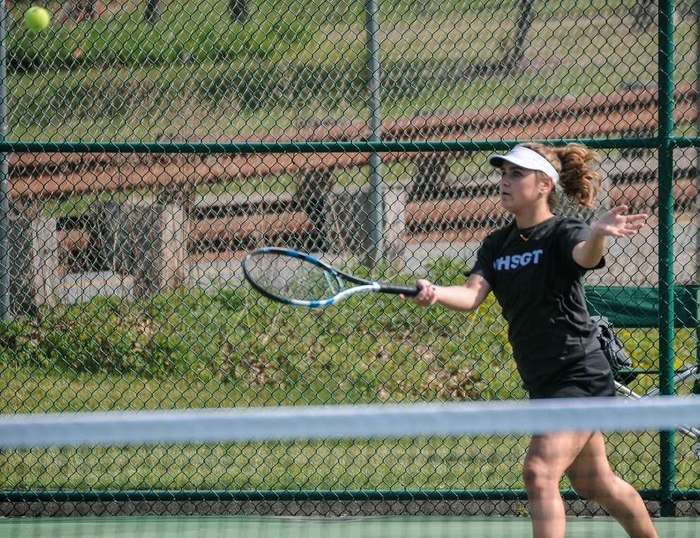 Senior captain Casey Burns capped her career with Westbrook girls' tennis by posting a record of 26-1, while winning her fourth straight Shoreline Conference singles title this spring. Photo by Kelley Fryer/Harbor News
