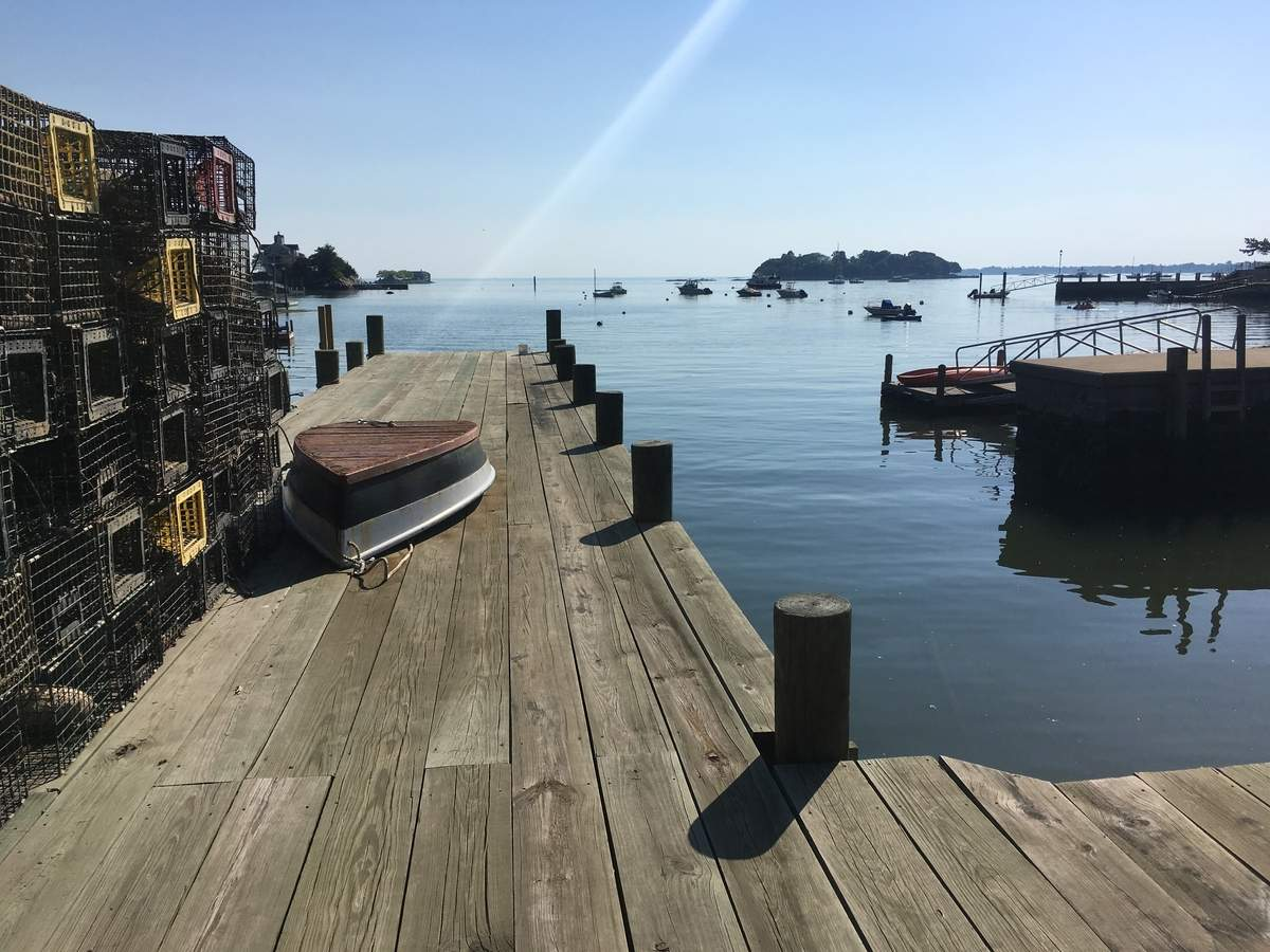 The dock in Stony Creek where the Thimble Island Shellfish Company is based on a sunny spring afternoon Photo by Pem McNerney/The Source