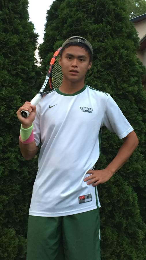Jeff Eng concluded his career with the Guilford boys' tennis team by posting an 11-7 record and making the All-SCC Division I Team this spring. Jeff was the No. 1 singles player and a senior captain for the Indians. Photo courtesy of Jeff Eng