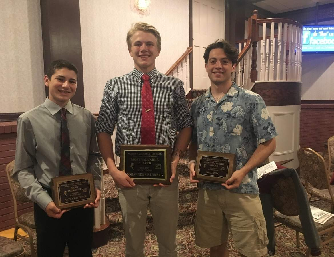 The North Haven boys' tennis team's award winners from the 2017 season: Nick Cristante (Most Improved Player), Johannes Eisenberg (Most Valuable Player), and Billy Sgro (Sportsmanship Award). Photo courtesy of Florie Cristante