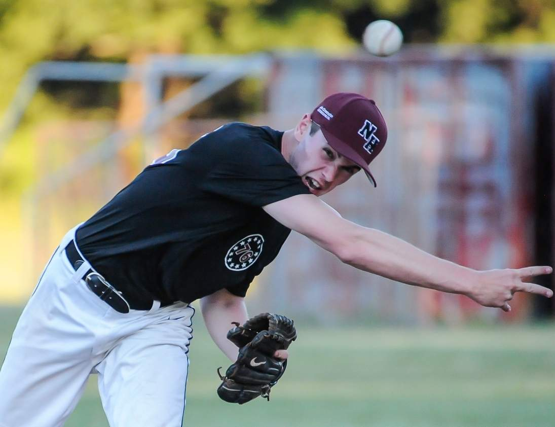 Griffin Bottomley tossed three scoreless innings of relief when the North Haven Senior Legion baseball team swept a doubleheader from Hamden to improve to 4-3 in Zone 2 contests this summer. Photo by Kelley Fryer/The Courier
