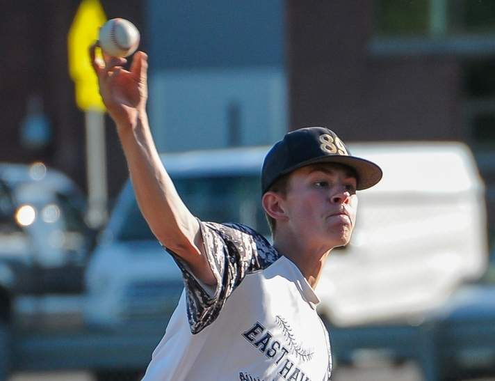 Jake Ferrara allowed no runs in his 5.1 innings of work to help the East Haven Senior Legion baseball team post a 5-3 victory over Branford last week. Photo by Kelley Fryer/The Courier