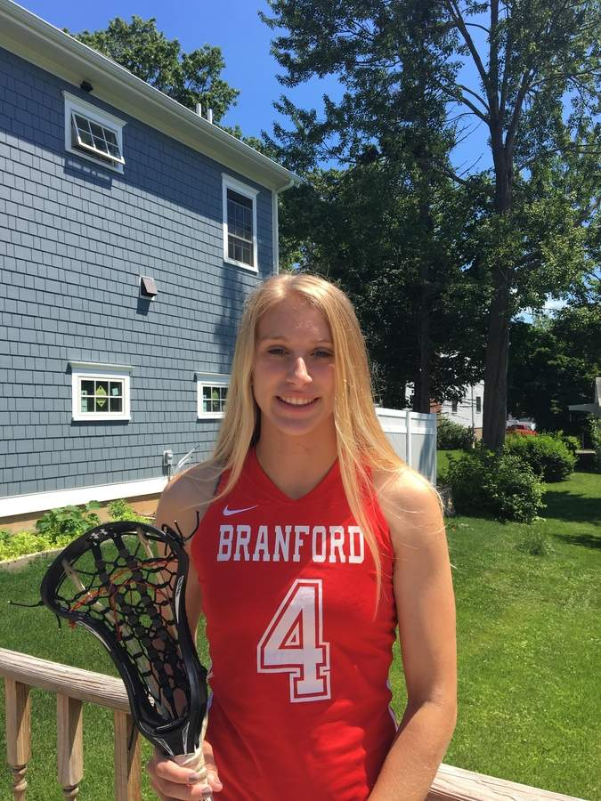 Junior midfielder Sophie Spencer scored 90 goals to help lead the Branford girls' lacrosse team to its first state title this spring. Sophie, an All-SCC and All-State selection, netted six of those goals when the Hornets beat Pomperaug 15-8 in the Class M State Tournament championship game. Photo courtesy of Sophie Spencer