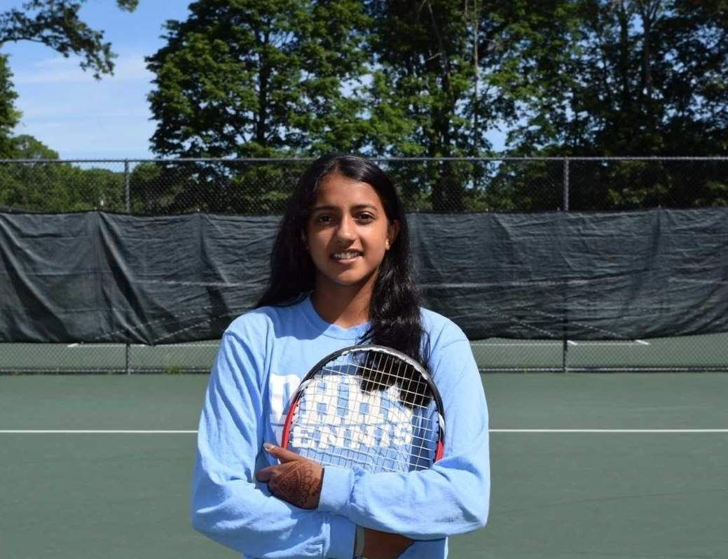 Ankita Roychoudhury held down the No. 1 singles spot for the Hand girls' tennis team during each of the past two seasons. As a senior captain this spring, Ankita helped the Tigers go undefeated, while taking home the SCC and Class M state titles. Photo courtesy of Ankita Roychoudhury