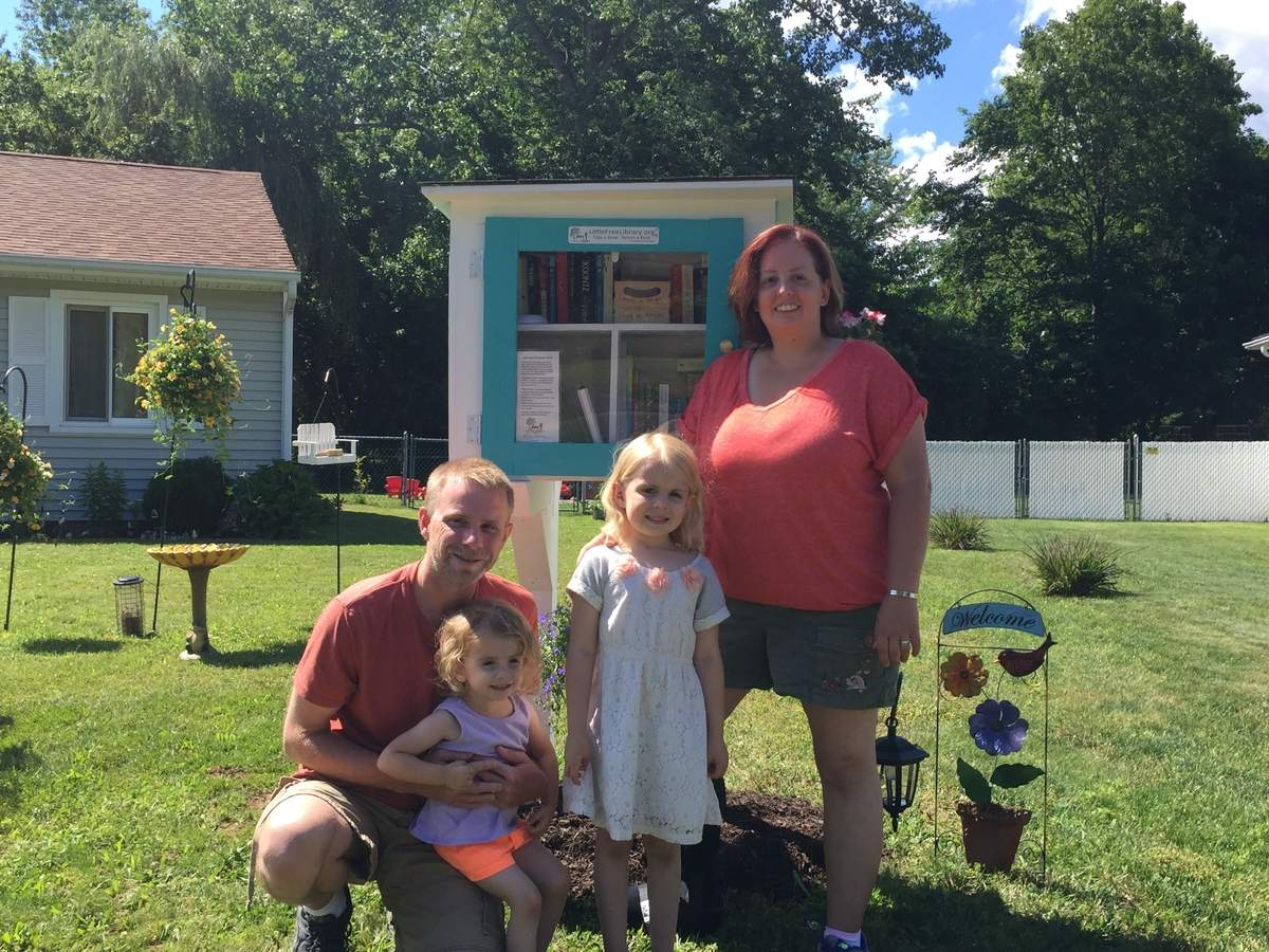 Thanks to Karyn Putney and her family, East Haven now has its own Little Free Library. Photo by Matthew DaCorte/The Courier