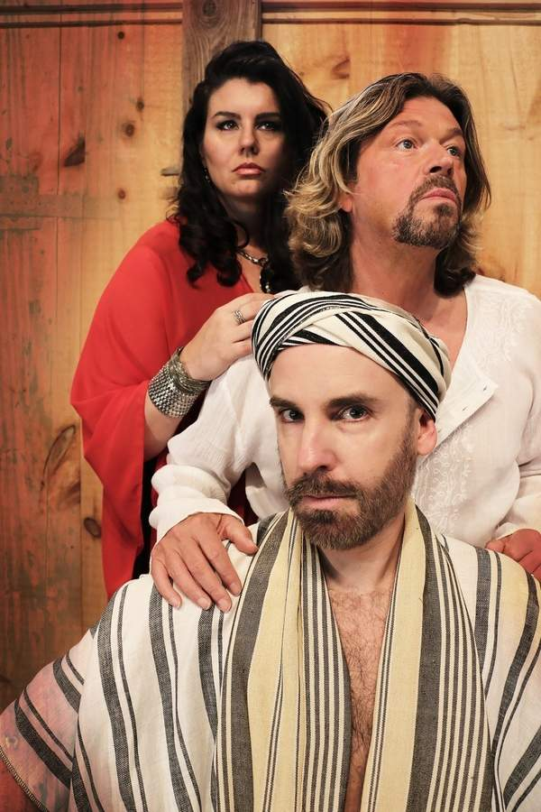 Pictured (from top) are Rochelle Bard as Mary Magdalene, Marc Deaton as Jesus, and John Johmann as Judas in the Madison Lyric Stage production of Jesus Christ Superstar. Photo by Cathi Bosco