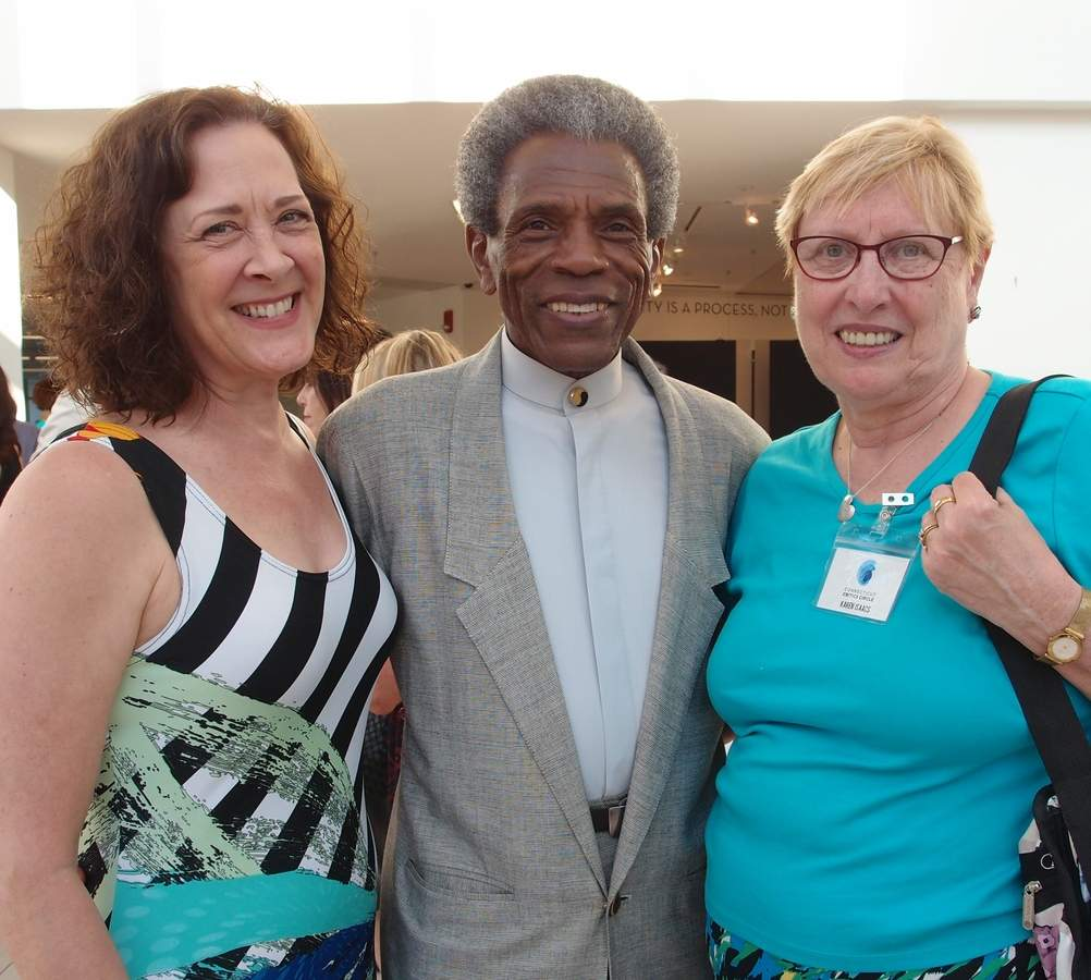 Karen Ziemba and Andre de Shields with Karen Isaacs, a member of the awards selection committee. Photo courtesy of Karen Isaacs