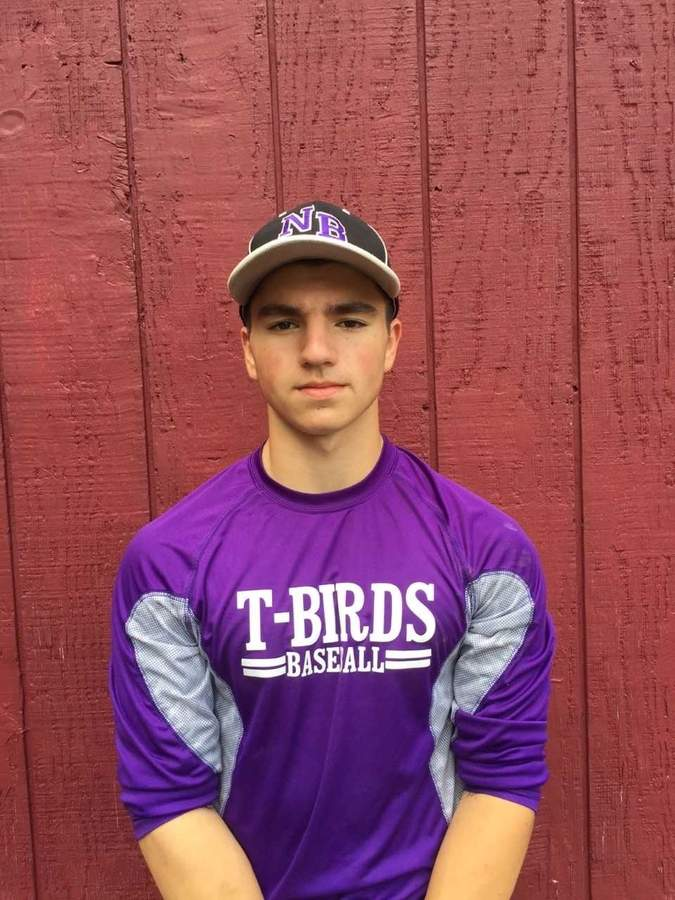 Gio Tirollo proved great table-setter for the North Branford baseball team this spring. As a senior captain shortstop, Gio posted a .403 batting average and scored 18 runs on his way to being named the T-Birds' Most Valuable Player. Photo courtesy of Gio Tirollo