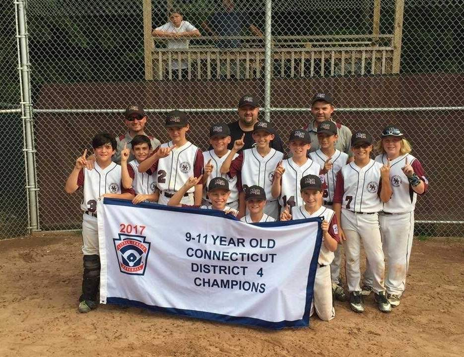 The North Haven U-11 baseball team won the District 4 championship with a 4-2 win over Milford in the semifinals and a 12-0 victory versus Branford in the final. Pictured are (front row) Dominic DeSimone, Tyler Kornacki, and Steven Vincent; (middle row) Nick Criscuolo, Justin Gouin, Max Cargan, Jake Pomitcher, Chris Labanara, Brady Cullen, James Tobin, Brendan Ryan, and Tyler Harger; (back row) coaches Brian Cullen, Mark Kornacki, and Chris Cargan. Photo courtesy of Bob Labanara