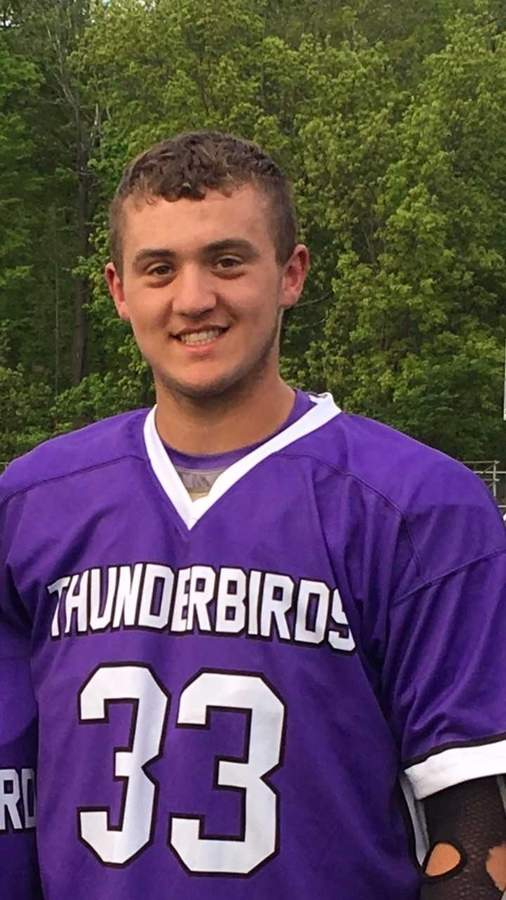 After initially attending Xavier, Connor Odell decided to transfer to North Branford during his junior year of high school and wound up being a key contributer for the Thunderbirds' boys' lacrosse squad. A senior captain, Connor capped off his career by netting 50 goals for North Branford this spring. Photo courtesy of Connor Odell