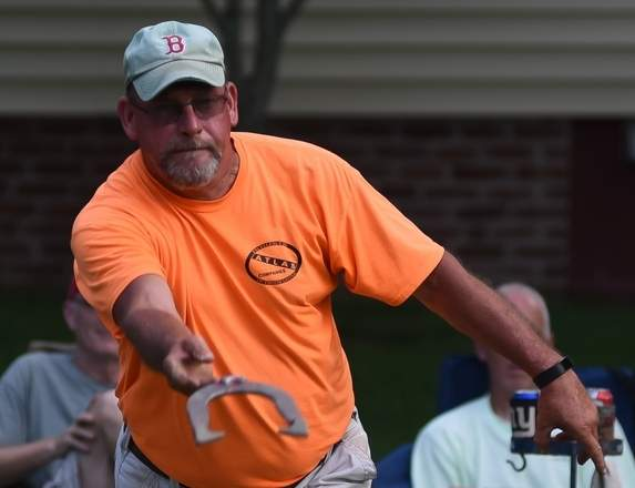 Bill Beckwith (pictured) of the Red Sox and Chip Goodrich of the Marlins led all A Division throwers with a score of 126 in Week 14 action in the Deep River Horseshoe League on July 17. Photo by Kelley Fryer/The Courier