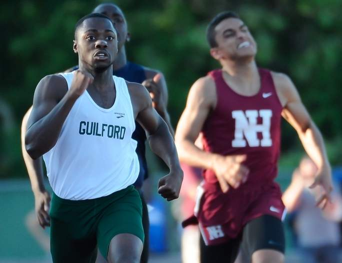 Senior Jordan Lembo-Frey won the 200-meter dash at the SCC East Sectional Championship, the SCC Championship, and the Class MM State Championship on his way to being named the co-Most Valuable Player for the Guilford boys' outdoor track squad this spring. Photo by Kelley Fryer/The Courier