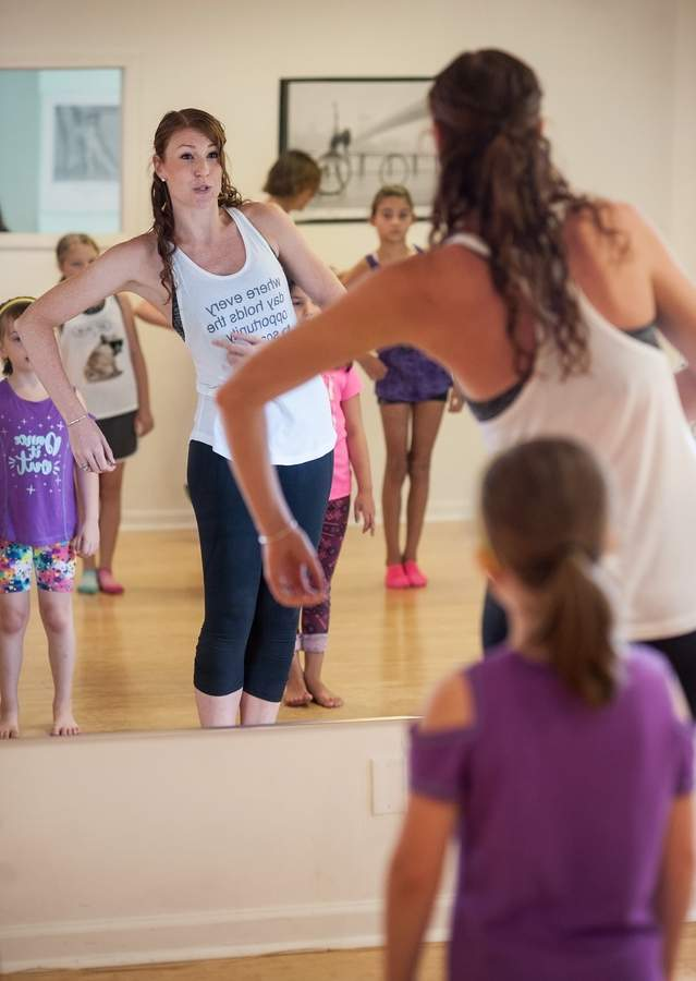 The En L'air Studio of Dance celebrated National Dance Day with an open house on Saturday July 29th.      Students try out a hip hop class lead by studio owner Jennifer Butler. Free classes were offered during the tour of the studio.