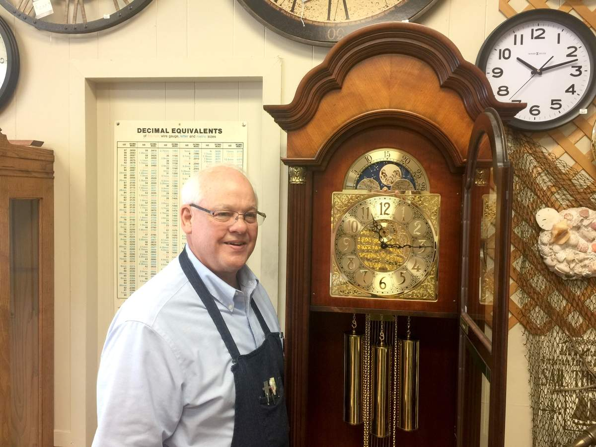 A tinkerer since birth, Ray Pavkov wasn't drawn to clocks until Army service brought him to Germany in the late '60s; the bug caught there and blossomed a few years later with the opening of a clock repair service. The owner of Yankee Clock Peddler in North Haven, he's been building repairing clocks for more than four decades. Photo by Matthew DaCorte/The Courier