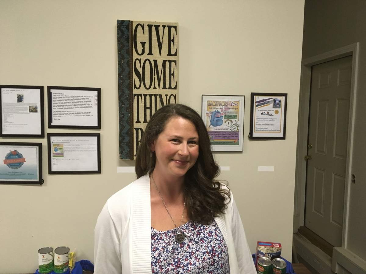 Amber Stamm is the driving force behind the HK Backpack program, which provides food for at-risk school children to take home on weekends and vacation weeks. Photo courtesy of Amber Stamm