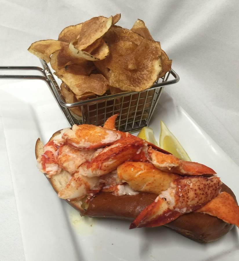 The Connecticut lobster roll at Fresh Salt is served with Fresh Salt kettle chips.  Photo courtesy of Fresh Salt