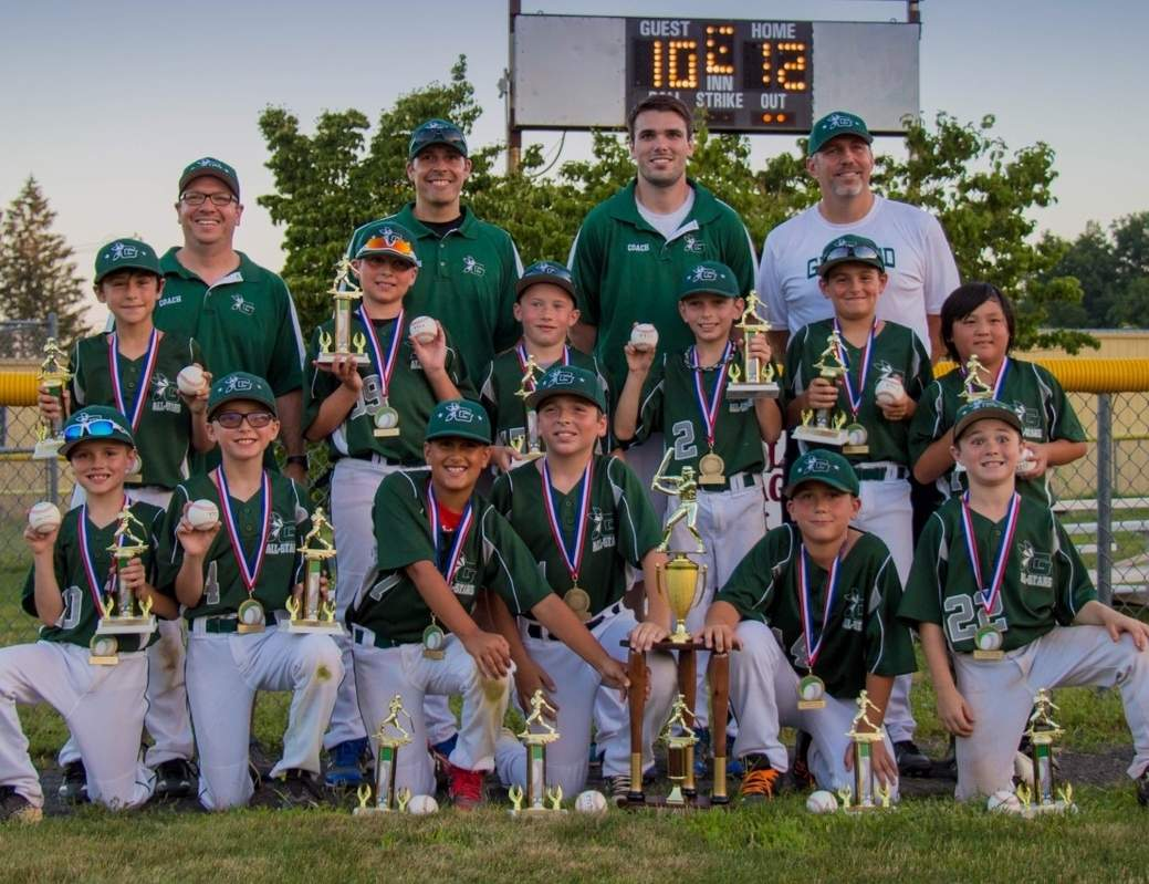 Pictured are the members of the Guilford Little League 9-10 All-Star baseball team: (back row) Head Coach Mike McDonald, assistant coaches Grant Copeland, Brett Griffith, and Chris Loban (middle row) Matthew DiNardo, Jon Chiechi, Zach Young, Ethan Loban, Danny Vinning, and Ryan Kennedy; (front row) Patrick McGowan, Adam Copeland, Alex Riga, Jack McDonald, Gehrig Footit, and Aiden Ruotolo.  Photo courtesy of Lisa Zajkowski