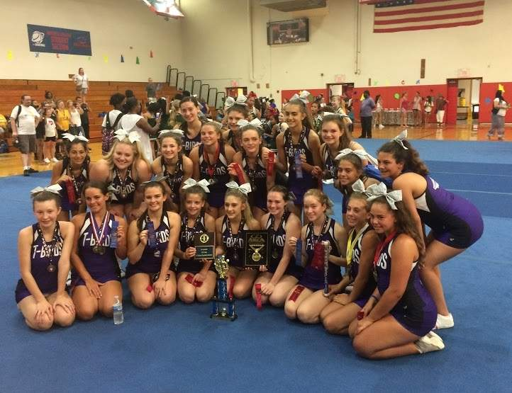 The North Branford cheerleading squad collected a slew of awards when it competed at a summer training camp hosted by the New England Cheerleaders Association. Photo courtesy of Todd Stoeffler