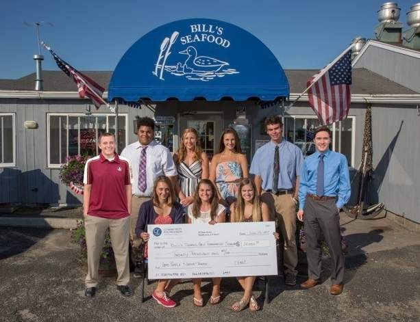 Bill's Seafood Scholar-Athlete Award recipients in (front row) Maleena Frazier (Ivoryton), Kathryn Hanley (Old Saybrook), and Hannah Scarpace (Clinton); (back row) Kevin Morrissey (Westbrook), Matthew Capece (Clinton), Margaret Smith (Old Saybrook), Zoe Ehlert (Westbrook), William Hunter LaPlace (Chester), and Joshua Chang (Old Saybrook). Photo courtesy of Devlin Photography