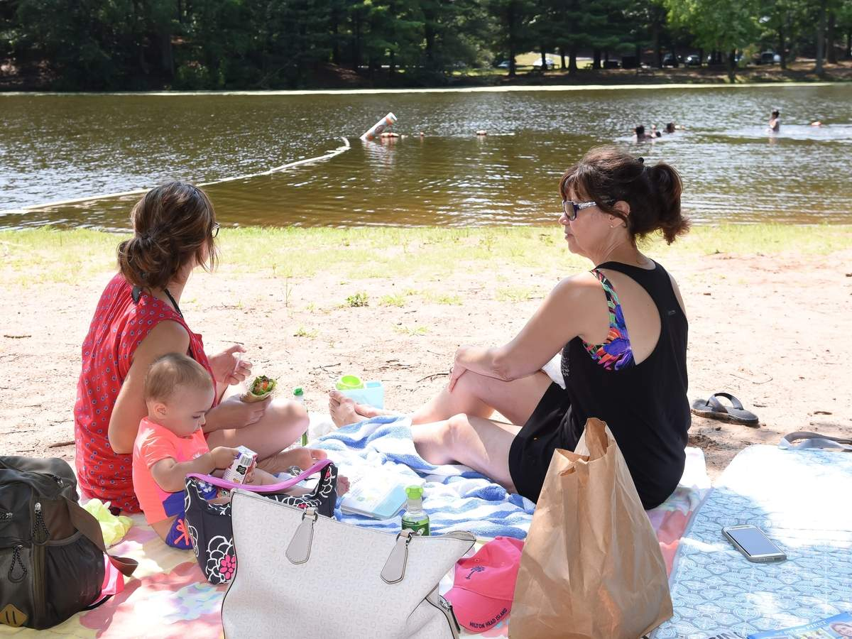 Summer swimming and picnicing at Wharton Brook State Park. Rosemary, Klaudia and little Gemma picnic by Allen Brook Pond and watch the kids swim.