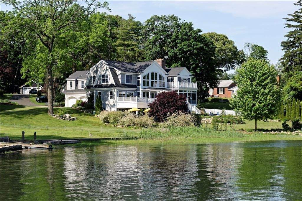 This Pawson Park has multiple decks to make the most of its enviable siting on Branford Harbor.
