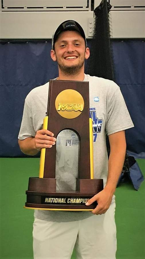 Hand boys' tennis alum Scott Rubinstein put together his second straight All-American season at Emory College while helping the Eagles win the Division III national title.  Photo courtesy of Scott Rubinstein