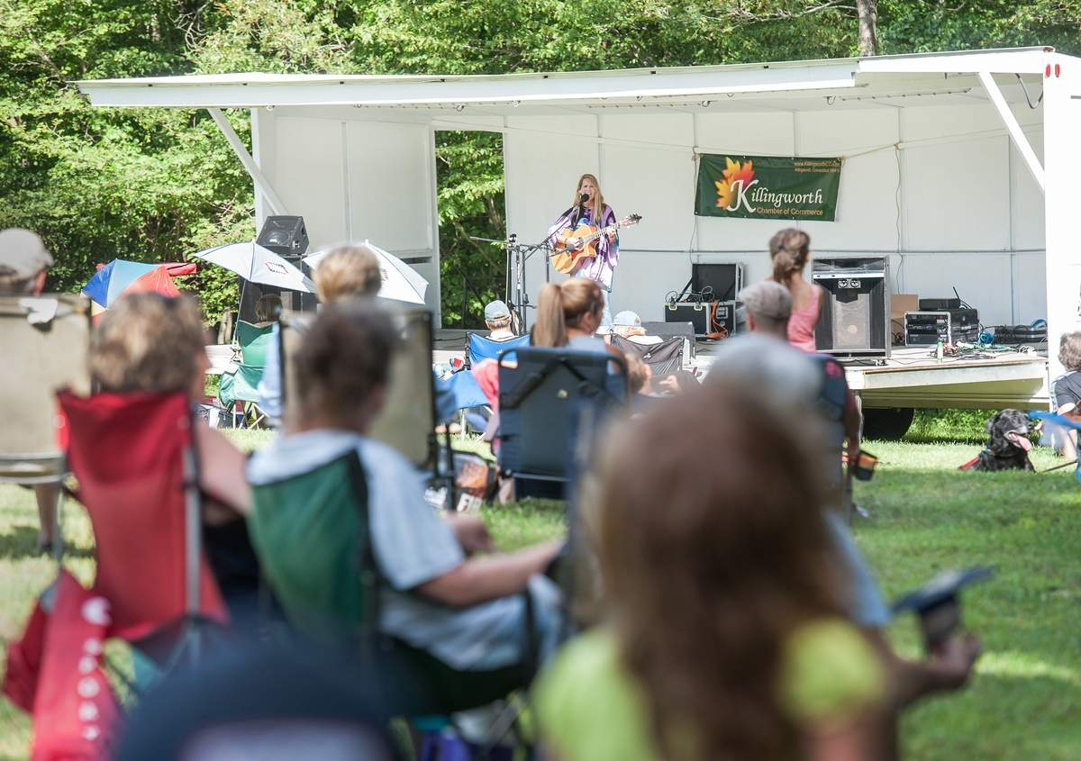 Singer/ Songwriter KJ Reimensnyder-Wagner took to the stage at Parmelee Farm for the Killingworth Chamber of Commerce concert series Sunday August 13th.